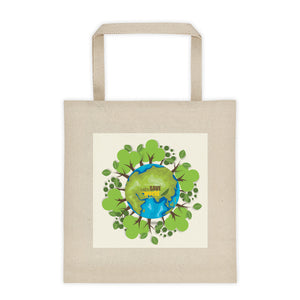 Durable Canvas Shopping Bag - Save the World Design - Kind4Earth
