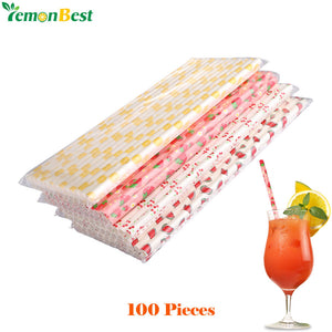 Fruit Pattern Paper Drinking Straws (100) - Kind4Earth