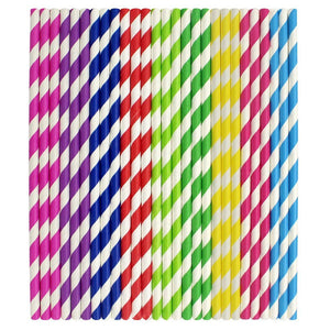 Stripe Pattern Paper Drinking Straws (25) - Kind4Earth