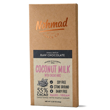 Coconut Milk Chocolate Bar with Cacao Nibs NOHMAD SNACK CO.