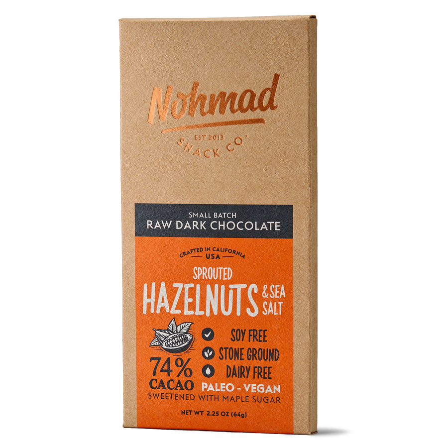 Hazelnut Dark Chocolate Bar with Sea Salt  NOHMAD SNACK CO.