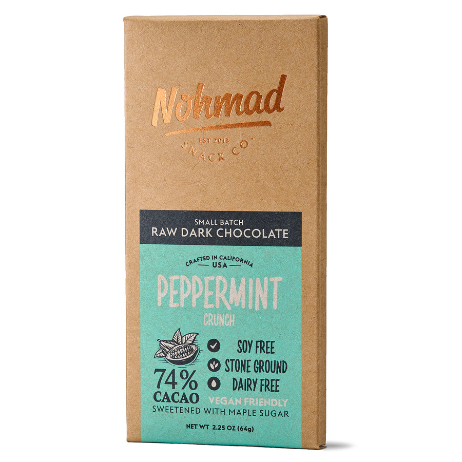 Peppermint Crunch Dark Chocolate Bar NOHMAD SNACK CO. 74% Cacao