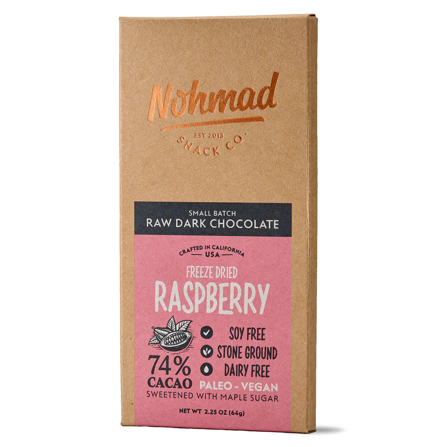 Dark Chocolate Bar with Raspberries NOHMAD SNACK CO.