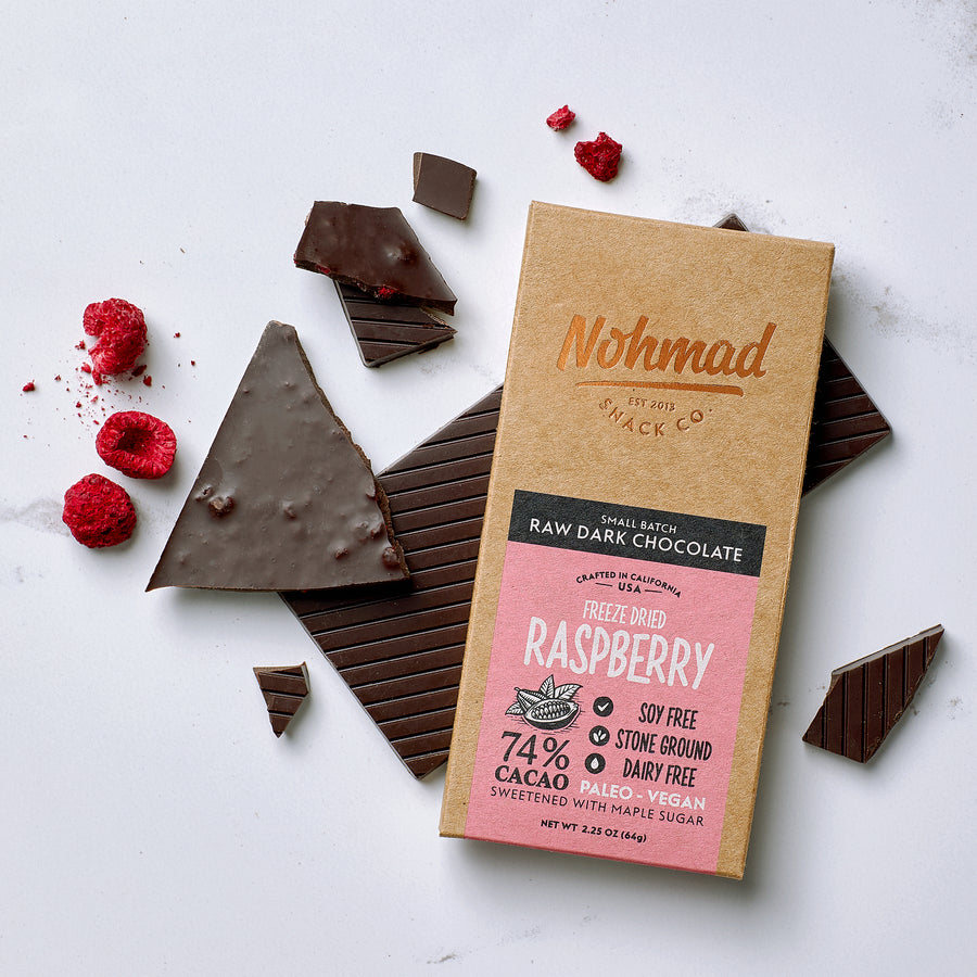 Dark Chocolate Bar with Raspberries 75% cacao NOHMAD SNACK CO.