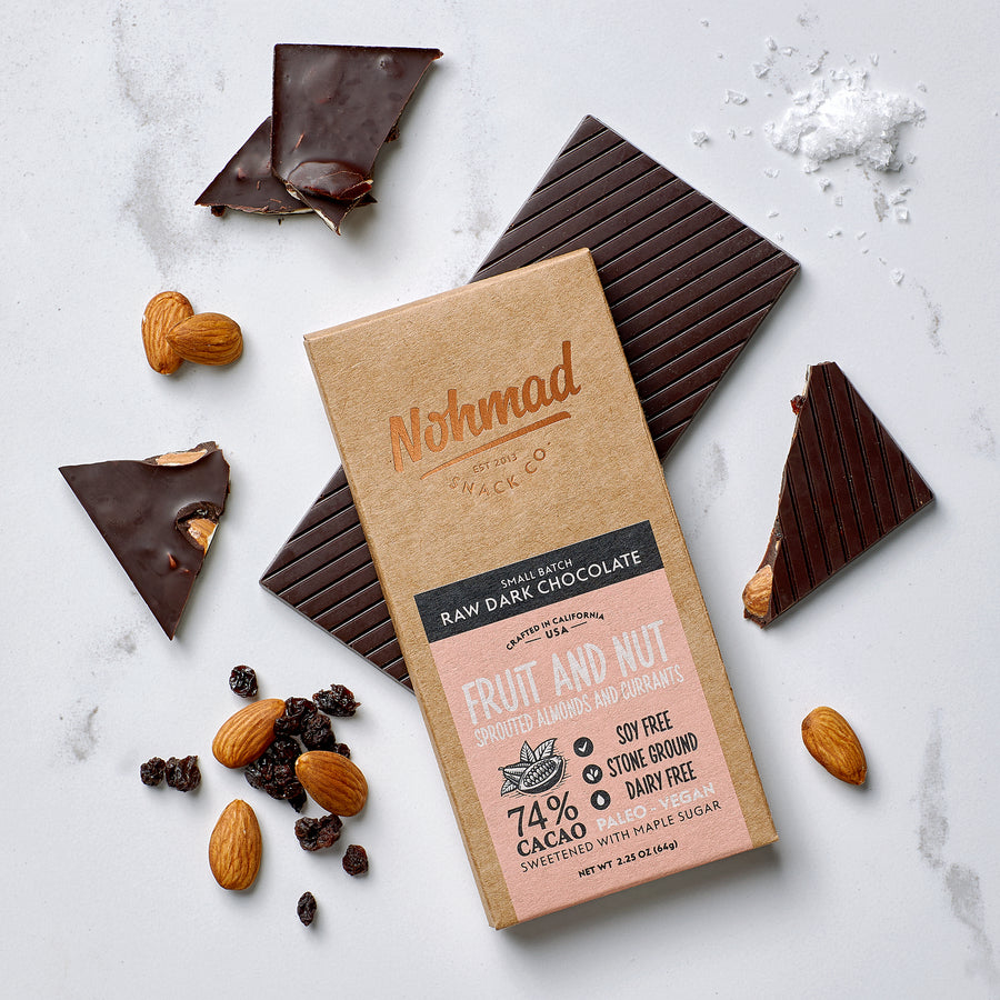 Fruit and Nut Dark Chocolate Bar NOHMAD SNACK CO. 74% Cacao