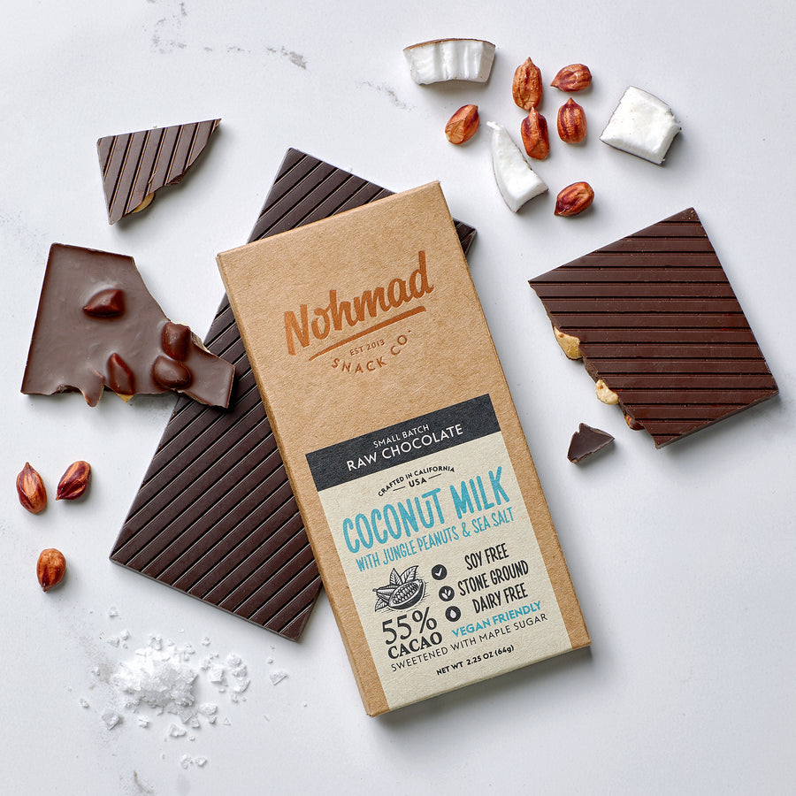 Coconut Milk Chocolate Bar with Peanuts and Sea Salt NOHMAD Snack Co
