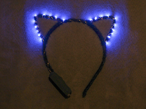 Blue LED Kitty Ears