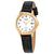 Seiko Quartz White Dial Black Leather Ladies Watch SUT376