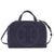 Tory Burch Perforated-Logo Suede Satchel- Tory Navy