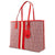 Tory Burch Gemini Link Canvas Tote- Red Gemini Link