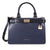 Michael Kors Tatiana Small Leather Satchel- Navy Blue/ Black