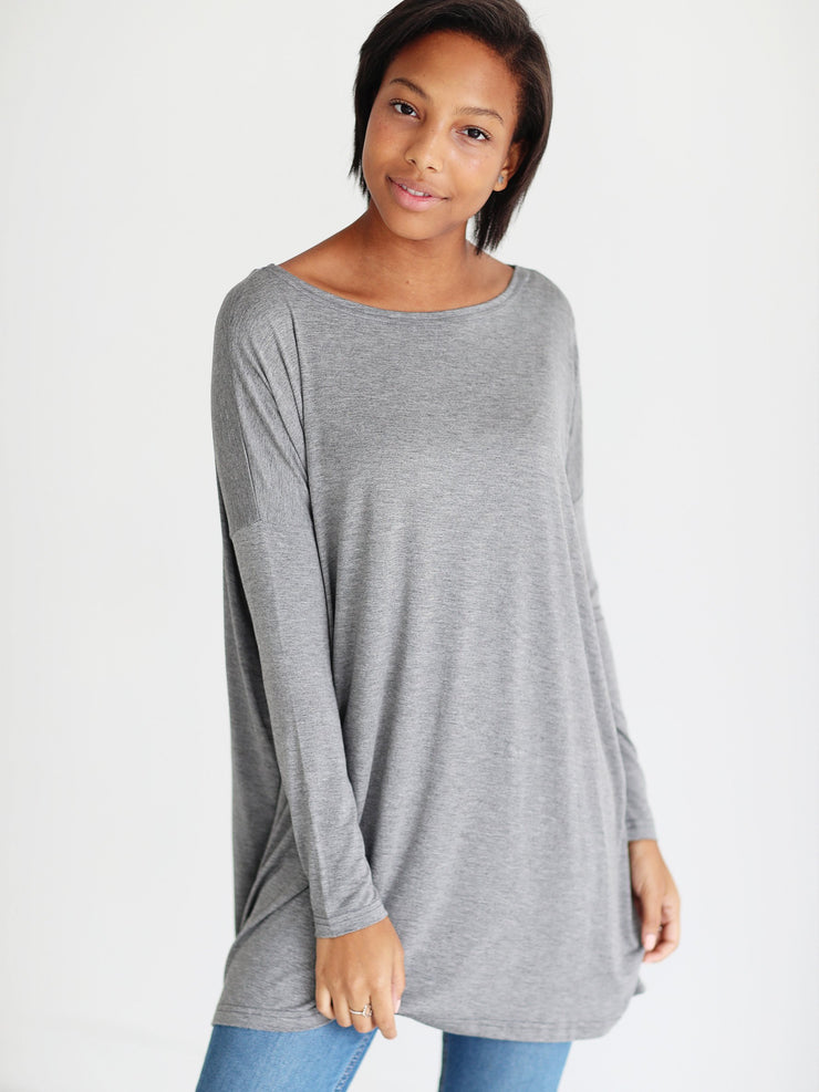 Dark Heather Gray Long Sleeve Tunic
