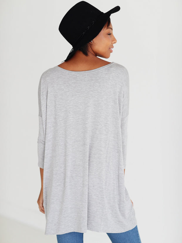Heather Gray 3/4 Sleeve Tunic