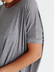 Dark Heather Gray Short Sleeve Tunic