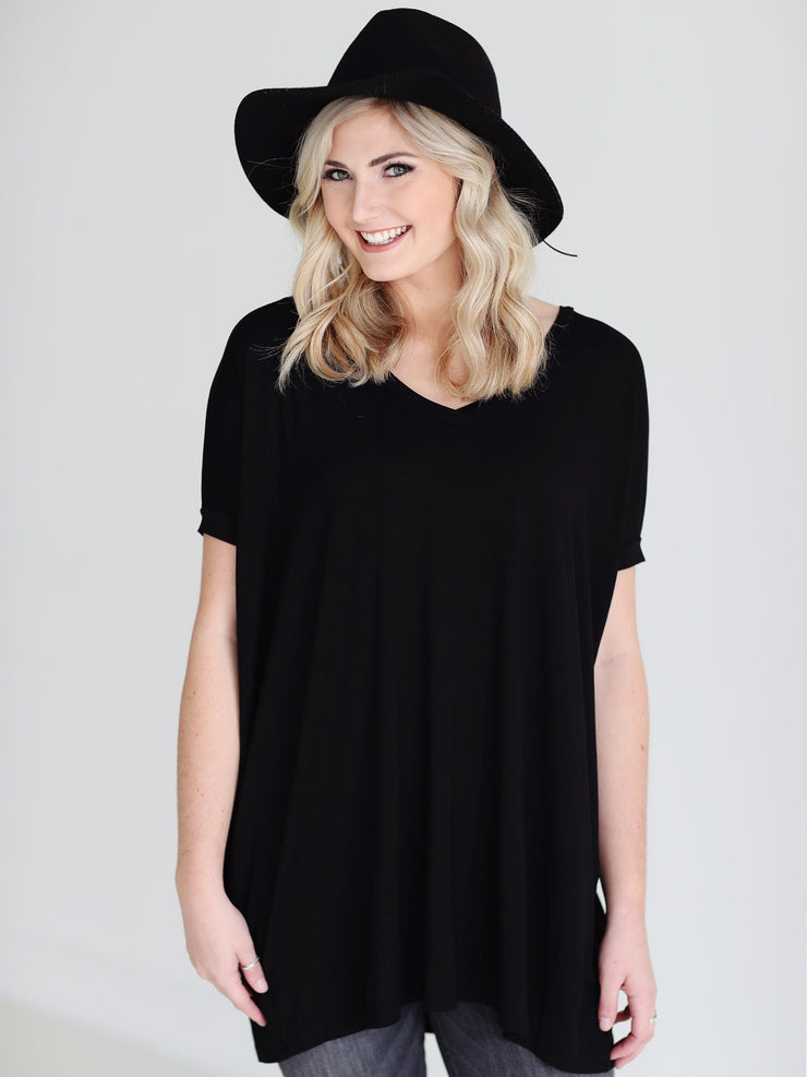 Black V-Neck Short Sleeve Tunic