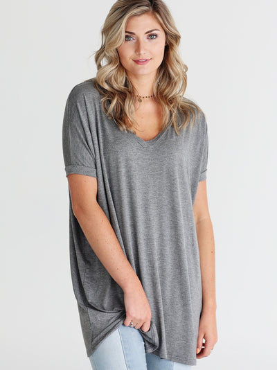 Dark Heather Gray V-Neck Short Sleeve Tunic