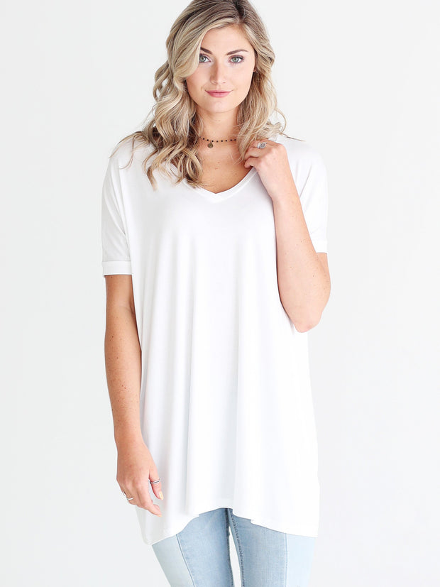 White V-Neck Short Sleeve Tunic