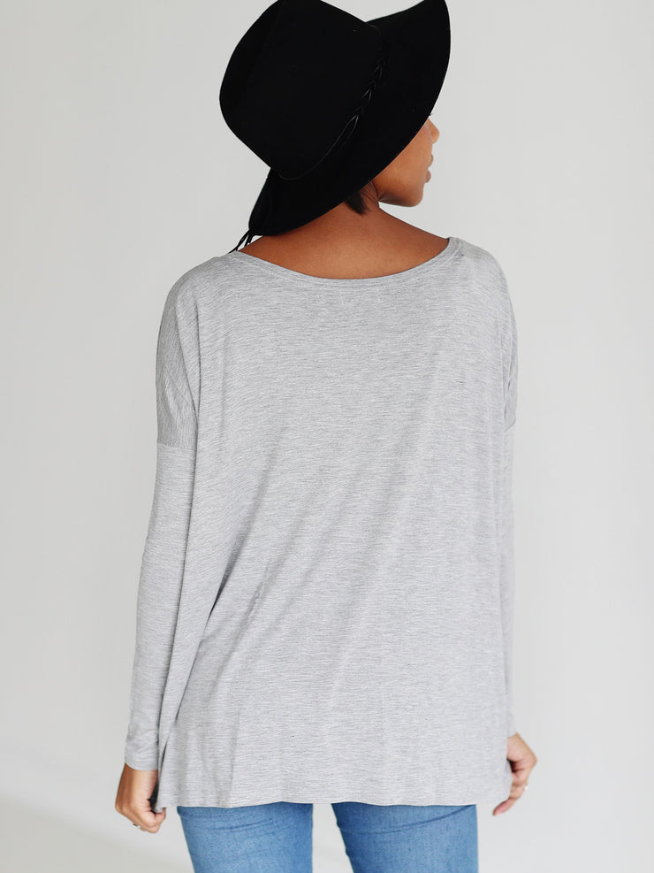 Heather Gray Long Sleeve Top