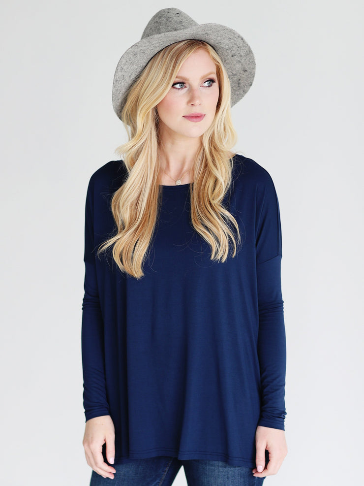 Navy Long Sleeve Top