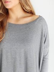 Dark Heather Gray 3/4 Sleeve Top