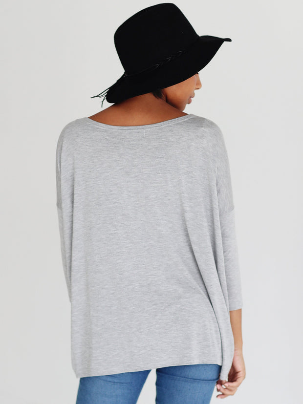 Heather Gray 3/4 Sleeve Top
