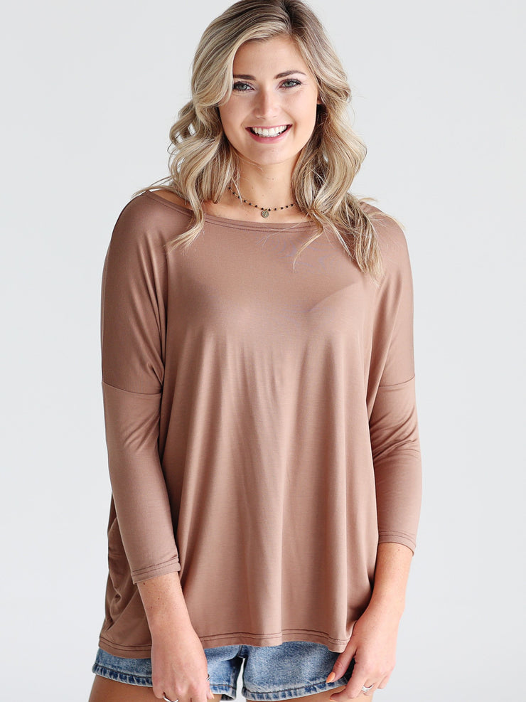 Mocha 3/4 Sleeve Top