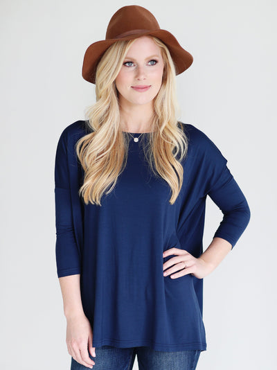 Navy 3/4 Sleeve Top