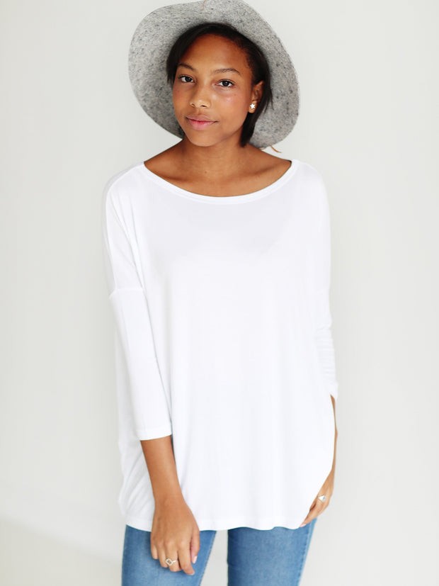White 3/4 Sleeve Top