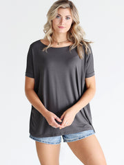 Dark Gray Short Sleeve Top