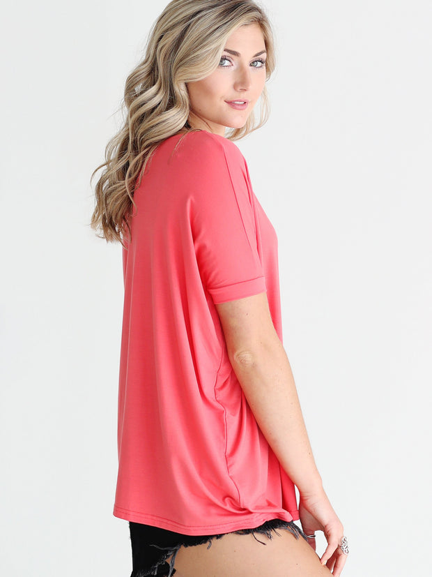 Hot Coral Short Sleeve Top