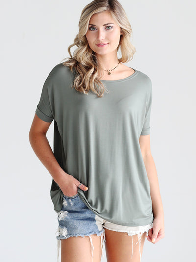 Light Olive Short Sleeve Top