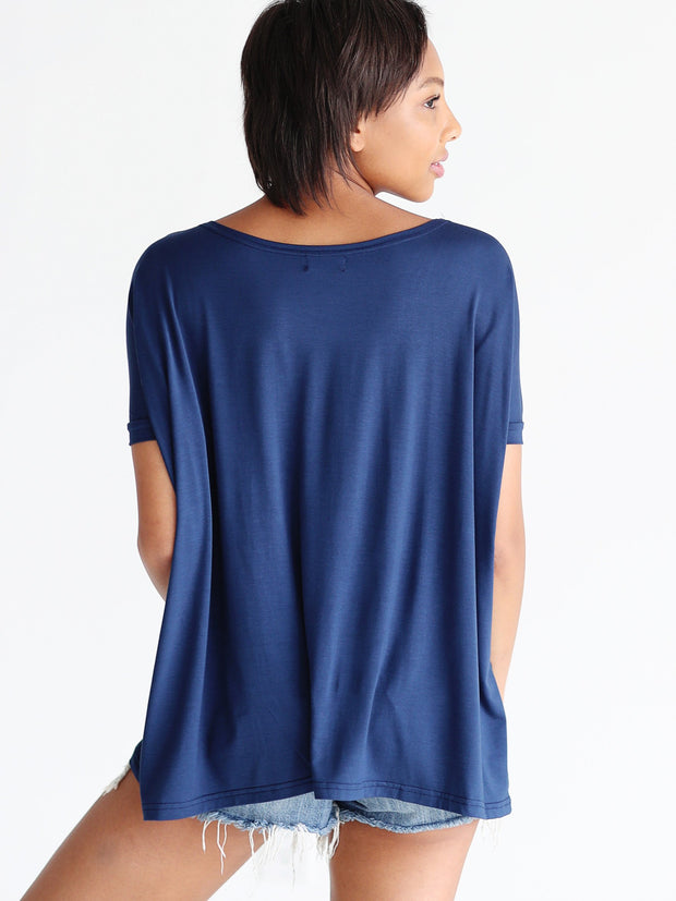 Navy Short Sleeve Top