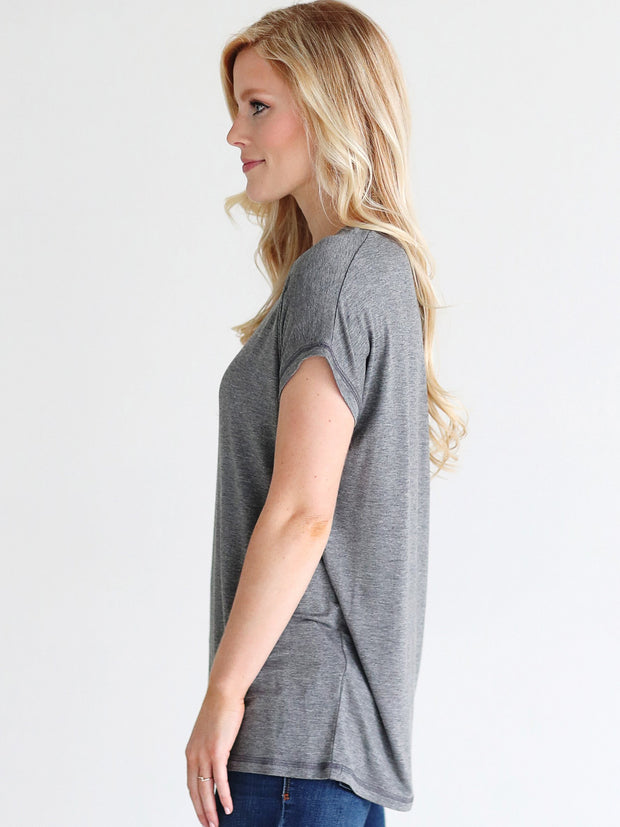 Dark Heather Gray Cap Sleeve Top