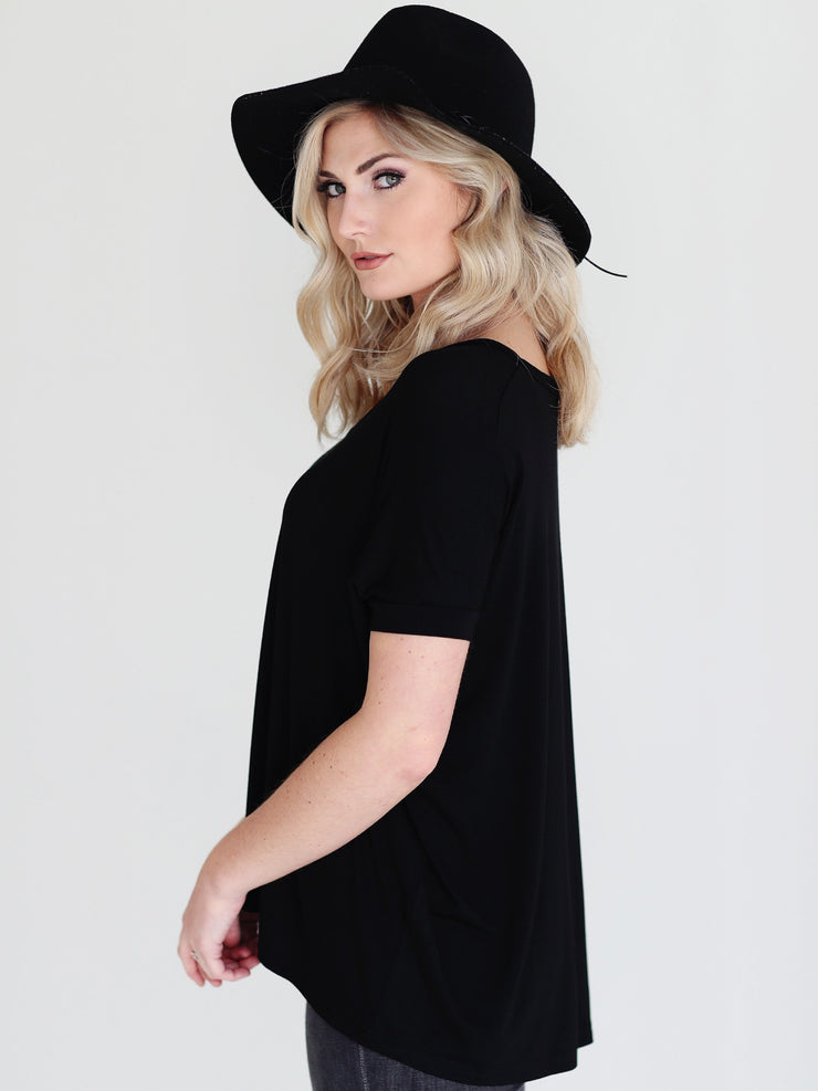 Black V-Neck Short Sleeve Top