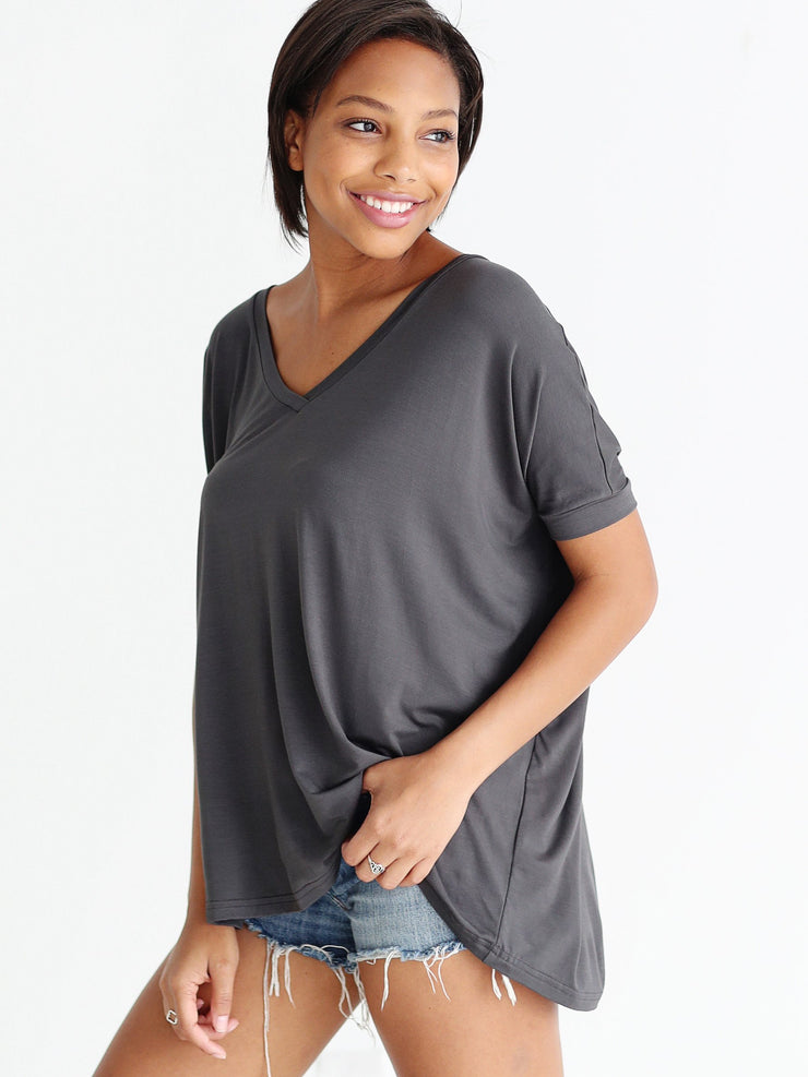 Dark Gray V-Neck Short Sleeve Top