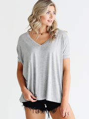 Heather Gray V-Neck Short Sleeve Top