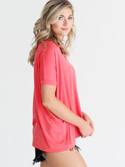 Hot Coral V-Neck Short Sleeve Top