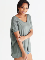 Light Olive V-Neck Short Sleeve Top