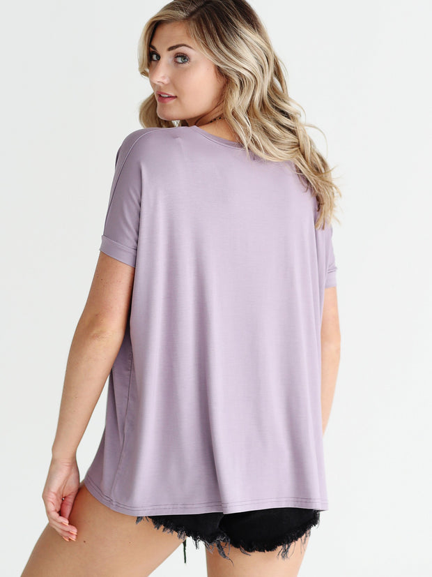 Light Purple V-Neck Short Sleeve Top