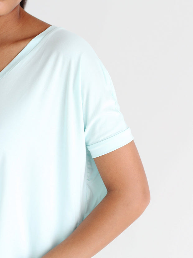Mint V-Neck Short Sleeve Top