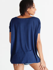Navy V-Neck Short Sleeve Top