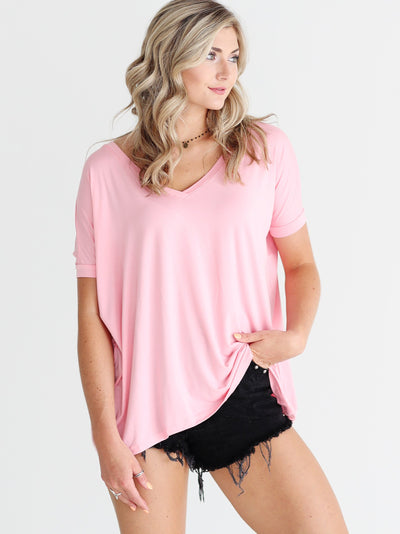 Rose Quartz V-Neck Short Sleeve Top