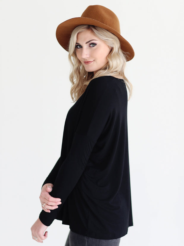 Black V-Neck Long Sleeve Top