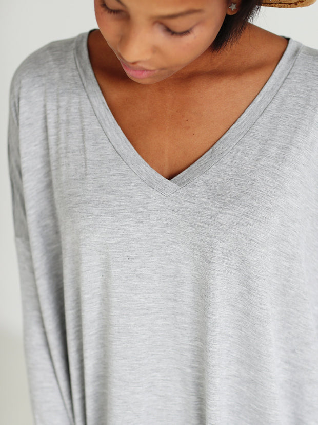 Heather Gray V-Neck