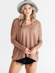 Mocha V-Neck Long Sleeve Top