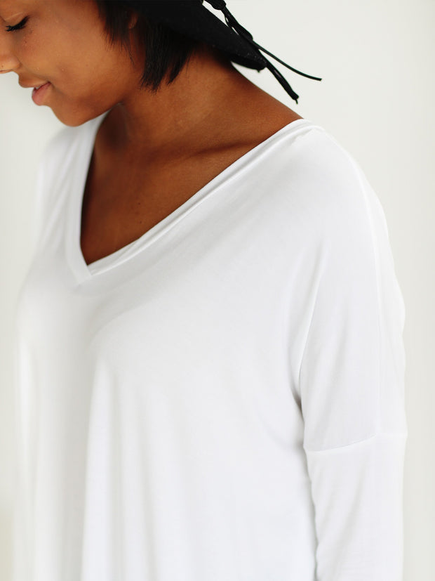 White V-Neck Long Sleeve Top