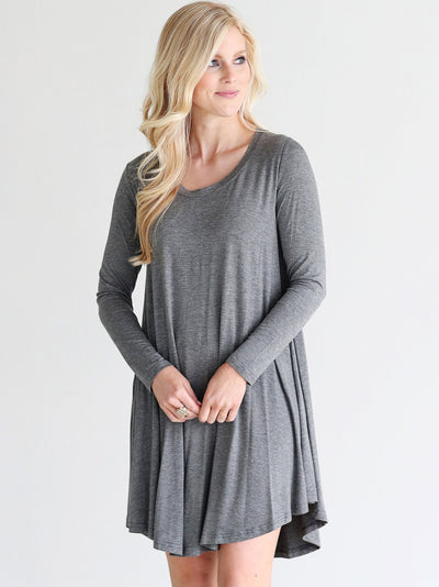 Dark Heather Gray DLMN Swing Dress