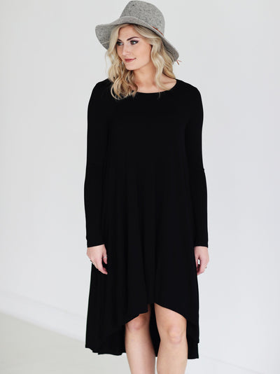 Black DLMN Long Sleeve High Low Dress