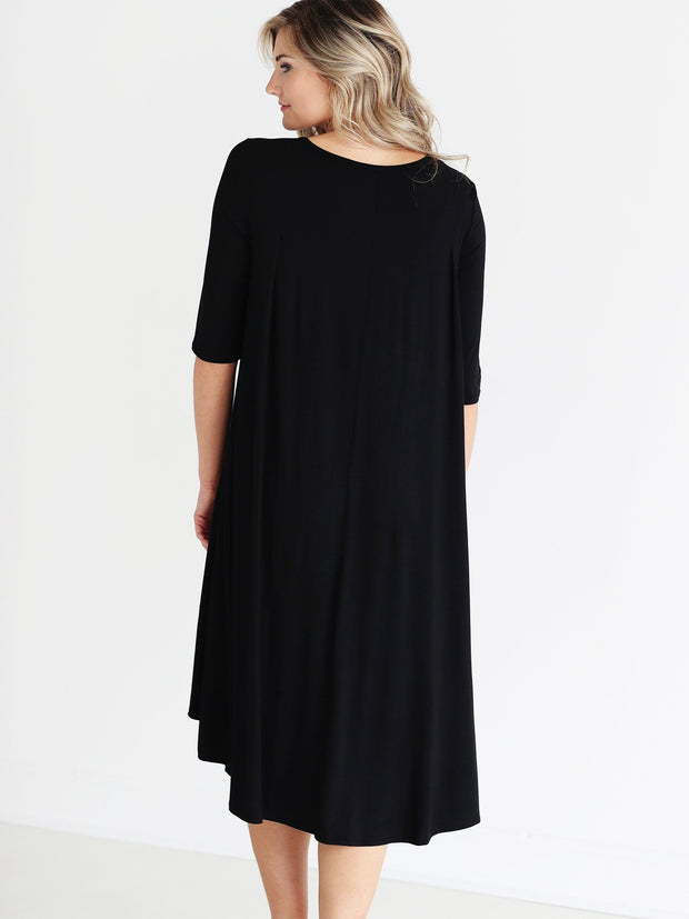 Black DLMN Short Sleeve High-Low Dress