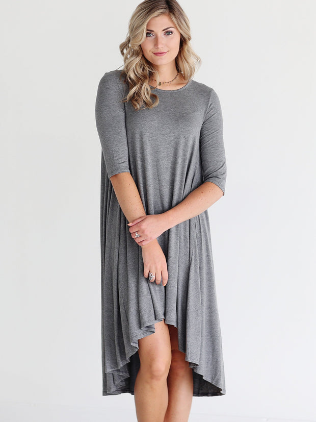 Dark Heather DLMN Short Sleeve High-Low Dress